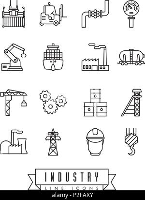 Collection of industry themed vector line icons - Stock Photo