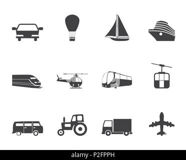 Silhouette Transportation and travel icons - vector icon set - Stock Photo