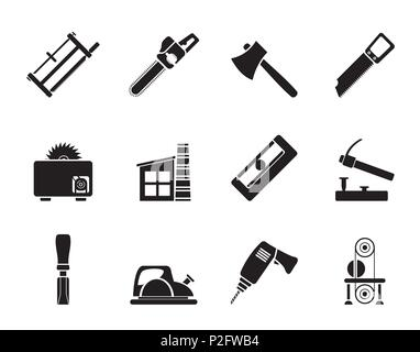 Set Of Woodworking Tools Icons Stock Vector Art Illustration