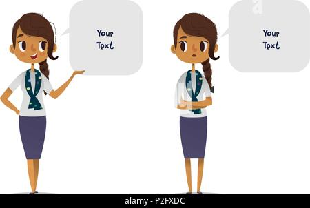 Collection of cheerful and depressed African American female scout troop leader dressed in smart clothes and speech balloons with place for text. Set of happy and sad women talking or speaking. - Stock Photo