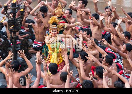 Kecak Fire Dance, Pura Uluwatu Temple, Uluwatu, Bali, Indonesia - Stock Photo