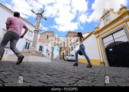 City gate in the historical center, Se of Elvas, Alentejo, Portugal - Stock Photo