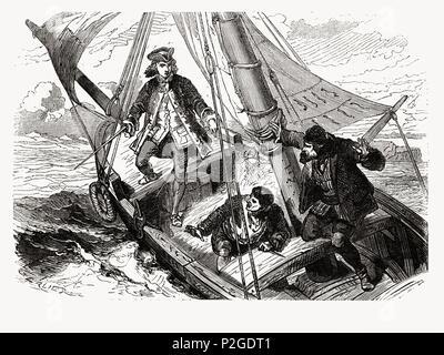 René Descartes (1596-1650). Filósofo y matemático francés durante uno de sus viajes. Grabado de 1866. - Stock Photo