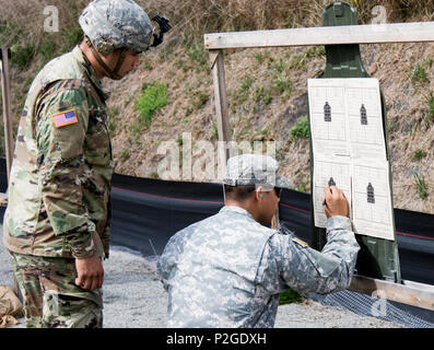 U.S. Army Spc. Ricardo Rodriguez, a light wheel vehicle mechanic assigned to the New York Army National Guard 145th Maintenance Battalion, reviews his zeroing score for the M4A1 on his target with range safety, Sgt. Julio Redwood, also with the 145th Maintenance Battalion, at Camp Smith Training Site, 20 September 2016. The Soldiers were qualifying in order to go on State Active Duty to reinforce Joint Task Force Empire Shield, the New York National Guard security force in New York City, at the direction of Governor Andrew M. Cuomo, in response to increased security concerns in the city follow - Stock Photo