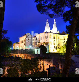 Sintra with Palacio National, near Lisbon, Portugal - Stock Photo