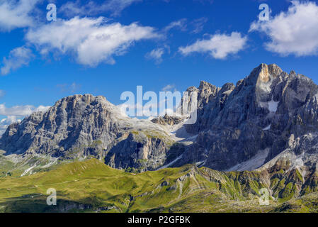 View to Pala with Monte Mulaz and Cima della Vezzana, Trans-Lagorai, Lagorai range, Dolomites, UNESCO World Heritage Site Dolomi - Stock Photo