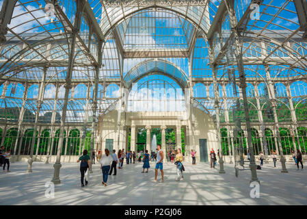 Madrid Retiro Crystal Palace, interior view of the Palacio de Cristal - a glass and wrought iron building in the Parque del Retiro in Madrid, Spain. - Stock Photo