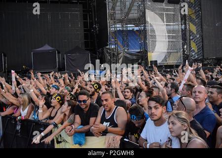 Vasco Rossi fans during 'Vasco Non Stop Live 2018' at Olympic Stadium in Rome, Italy. - Stock Photo