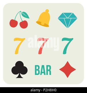 Vector illustration of slot machine reels signs and symbols - lucky sevens, cherries, bell and other elements of gambling in minimal flat retro style - Stock Photo