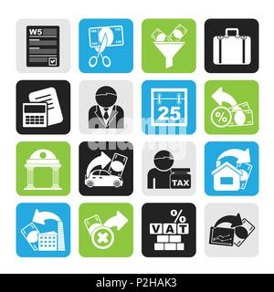 Silhouette Taxes, business and finance icons - vector icon set - Stock Photo