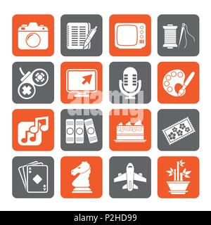 Silhouette Hobbies and leisure Icons - vector icon set - Stock Photo
