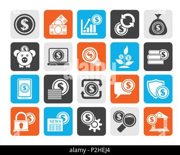 Silhouette Business, Money and Finance icons -  vector icon set - Stock Photo