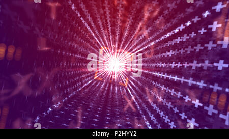 A geometrical 3d illustration of a time portal outlined with an orange square and straight stripes from white crosses leading to a sparkling golden ce - Stock Photo