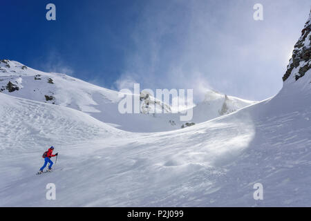 Woman back-country skiing ascending towards Monte Faraut, Monte Faraut, Valle Varaita, Cottian Alps, Piedmont, Italy - Stock Photo