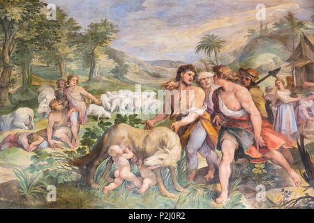Rome, Italy.  The Capitoline Museum. Finding of the She-wolf with Romolus and Remus, a fresco in The Great Hall, also known as the Horatii and Curatii - Stock Photo