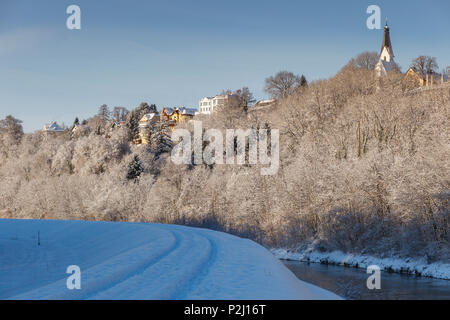 Pullach and church on the high bank of the Isar river valley, winter, Pullach im Isartal, south of Munich, Upper Bavaria, Bavari - Stock Photo
