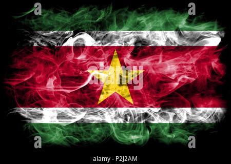 Suriname smoke flag - Stock Photo