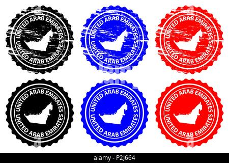 United Arab Emirates - rubber stamp - vector, United Arab Emirates (UAE) map pattern - sticker - black, blue and red - Stock Photo