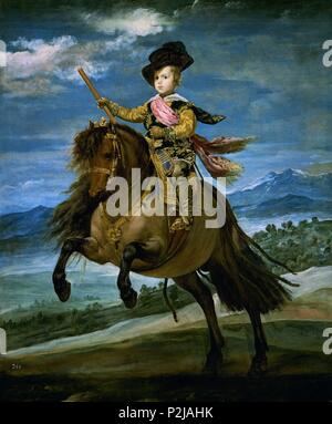 'Prince Baltasar Carlos on Horseback', 1634-1635, Spanish Baroque, Oil on canvas, 211,5 cm x 177 cm, P01180. Author: Diego Velázquez (1599-1660). Location: MUSEO DEL PRADO-PINTURA, MADRID, SPAIN. - Stock Photo