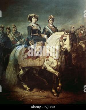 'Isabel II dirigiendo una revista militar', 1867, Oil on canvas, 333 x 277 cm, DE0122. Author: Louis Étienne Charles Porion (1814-1884). Location: MUSEO ROMANTICO-PINTURA, MADRID, SPAIN. - Stock Photo