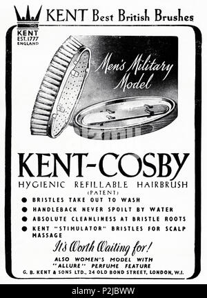1940s old vintage original advert advertising Kent-Cosby men's hairbrush in English magazine circa 1946 when supplies were still restricted under post-war rationing - Stock Photo