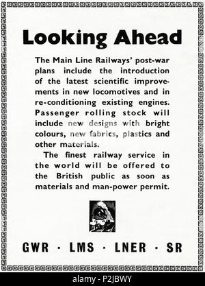 1940s old vintage original advert advertising new rolling stock for GWR LMS LNER & SR in English magazine circa 1946 when supplies were still restricted under post-war rationing - Stock Photo