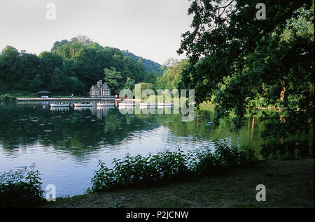 Swanbourne Lake, near Arundel, West Sussex, UK, in the early evening in summer - Stock Photo