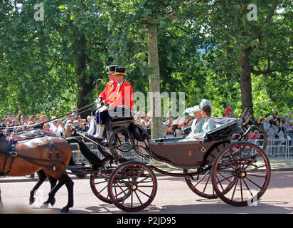 Kate Middleton, London, UK - 06/12 /2018: Kate Middleton & Camilla Parker Bowles, Trooping the colour royal family in carriages ride along mall London - Stock Photo