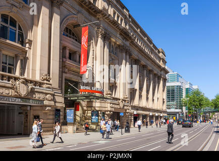England Manchester England greater Manchester City centre Royal exchange theatre  and royal exchange arcade cross street manchester city centre  uk - Stock Photo