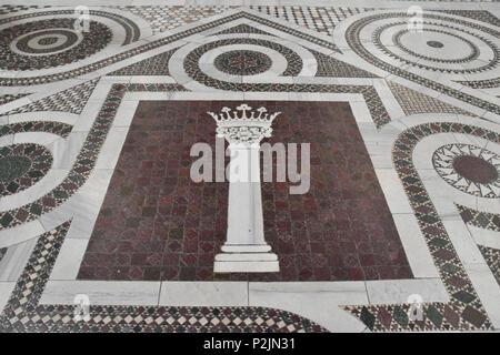 Heraldic symbol of Pope Martin V in the tiled mosaic floor of the Archbasilica of St. John Lateran, St. John Lateran or the Lateran Basilica is the ca - Stock Photo