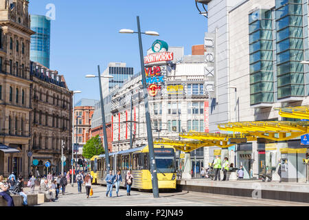 England Manchester England Manchester tram stop exchange square printworks City centre city center  manchester Arndale centre Manchester uk - Stock Photo