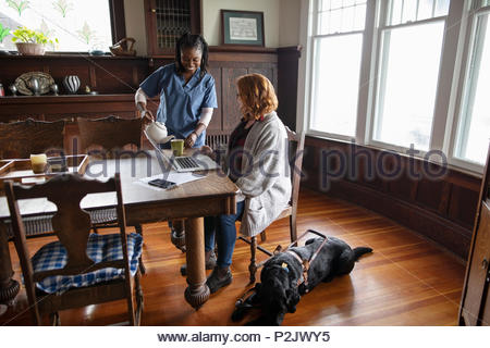 Home caregiver pouring tea for visually impaired woman with seeing eye dog - Stock Photo