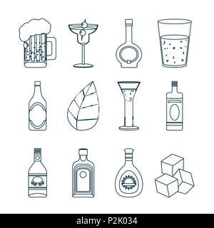 Set of bar drinks - Stock Photo