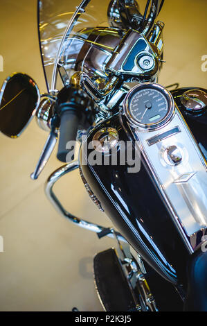 Detail of a classic American motorcycle. Classic bike. Chrome details and black rubber details - Stock Photo