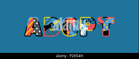 The word ADOPT concept written in colorful abstract typography. - Stock Photo