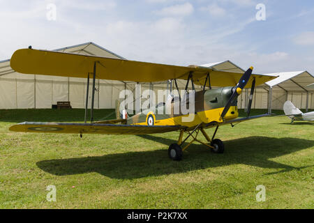 De Havilland Tiger Moth DH82 a two seat propellor driven biplane. Used as a basic training aircraft - Stock Photo
