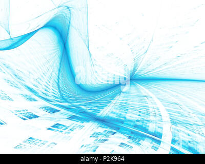 Wave and grid - abstract digitally generated image - Stock Photo