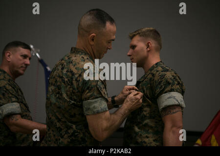 U.S. Marine Corps Maj. Gen. John K. Love, 2nd Marine Division (2d MARDIV) commanding general, 2d MARDIV, pins a Navy Achievement Medal on Sgt. Jared R. Daniels, 2nd Battalion, 6th Marine Regiment, 2d MARDIV during the 2d MARDIV Infantry Rifle Squad Competition award ceremony at Camp Lejeune, N.C., Sep. 28, 2016. 2d MARDIV Infantry Rifle Squad Competition was to evaluate the tactical proficiency of infantry rifle squads and determine, under simulated combat conditions, the Division's most proficient and capable squad. The competition was designed to emphasize the correct conduct of tactics, tec - Stock Photo