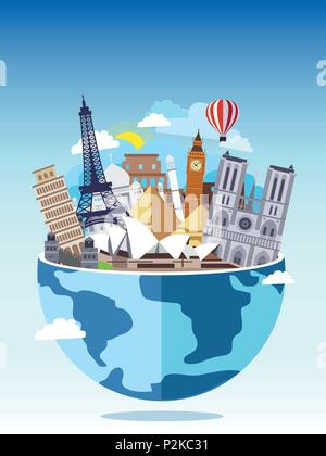 Travel around the world concept. Tourism with famous world landmarks. Vector Illustration. Globe with different touristic destinations buildings - Stock Photo