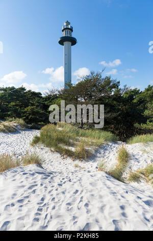 lighthouse at dream beach and dunes of Dueodde, sandy beach, Summer, Baltic sea, Bornholm, Dueodde, Denmark, Europe - Stock Photo