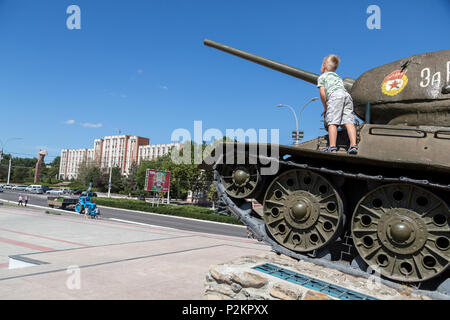 25.08.2016, Tiraspol, Transnistria, Moldova - The famous tank monument in the city center (street of the 25th October), a Russian T 34 from the Second - Stock Photo
