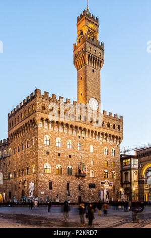 Palazzo Vecchio at evening. Florence, Province of Florence, Italy. - Stock Photo