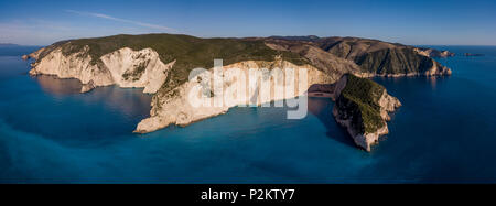 Aerial view of Navagio or Shipwreck Beach on the coast of Zakynthos, in the Ionian Islands of Greece - Stock Photo
