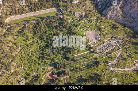 Aerial view of Ancient Delphi, the famous sanctuary located in the ancient region of Phocis in Central Greece - Stock Photo