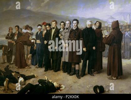 'The execution of General Torrigo and his companions in 1831', 1888, Oil on canvas, 390 x 600 cm. Author: Antonio Gisbert (1834-1901). Location: MUSEO DEL PRADO-PINTURA, MADRID, SPAIN. - Stock Photo
