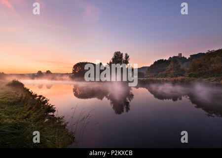 Morning mist, Ruhr river with Blankenstein castle, near Hattingen, Ruhr area, North-Rhine Westphalia, Germany - Stock Photo