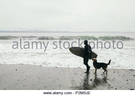 Male surfer with dog carrying surfboard on rugged beach - Stock Photo