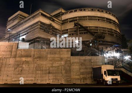 Haifa'sTalpiot market building at night - Stock Photo
