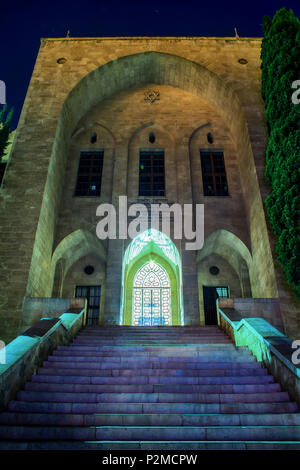 The National museum of Science Planning and Technology in Haifa, Israel at night - Stock Photo