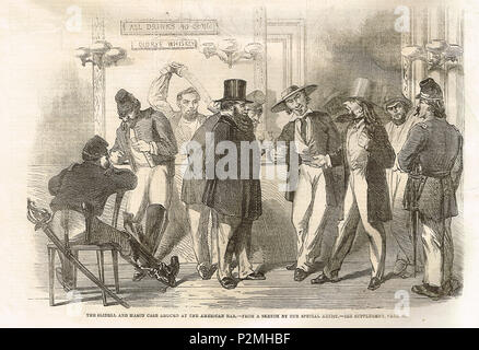 The Trent affair, argued at an American bar. A diplomatic incident in 1861, during the American Civil War, which threatened a war between the United States and the United Kingdom. - Stock Photo